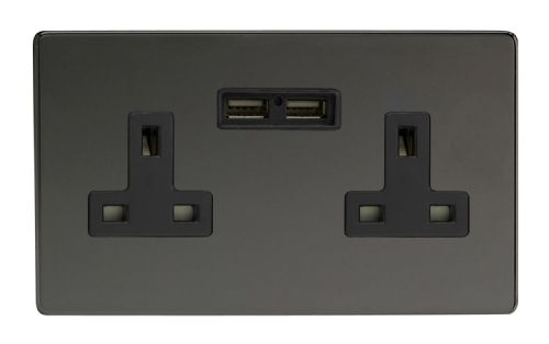 Varilight XDI5U2BS Screwless Iridium Black 2 Gang Double 13A Unswitched Plug Socket 2.1A USB